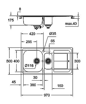 Grohe 31567SD0 Fregadero de cocina K400, 60 cm: Amazon.es: Bricolaje y herramientas