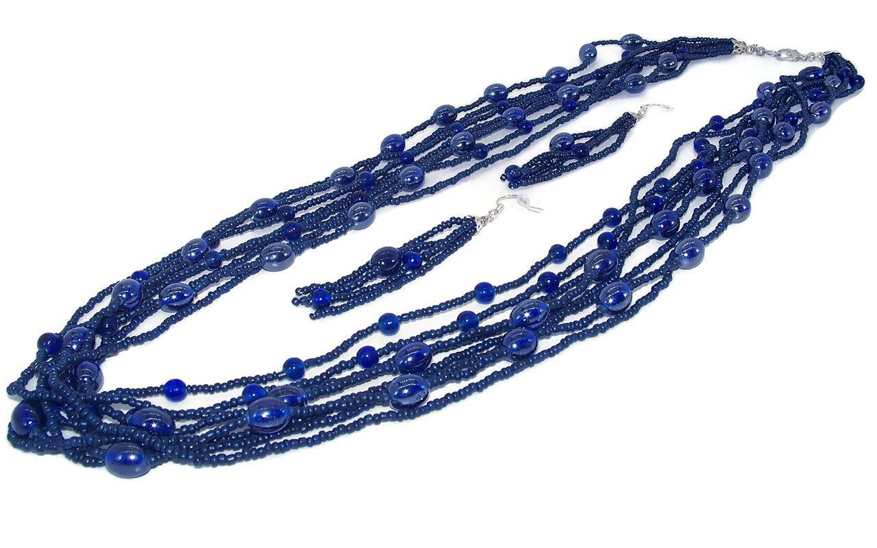 DesignedDazzle Multi Strand Bead Necklace Bead Earrings (30 inch) (Navy Blue)
