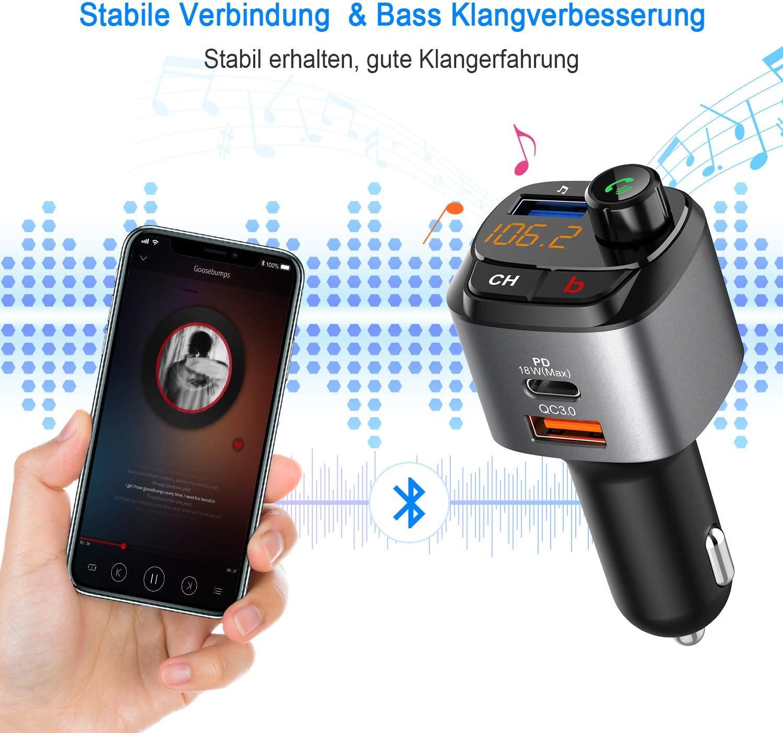 Bluetooth FM Transmitter Auto Mit 3 in 1 Kabel Jayol Bluetooth FM Radio Adapter mit 3 USB MP3 Ladeger/ät Musik Player FM Transmitters mit USB-C PD 18W Schnellladung Freisprechung Support USB-Laufwerk
