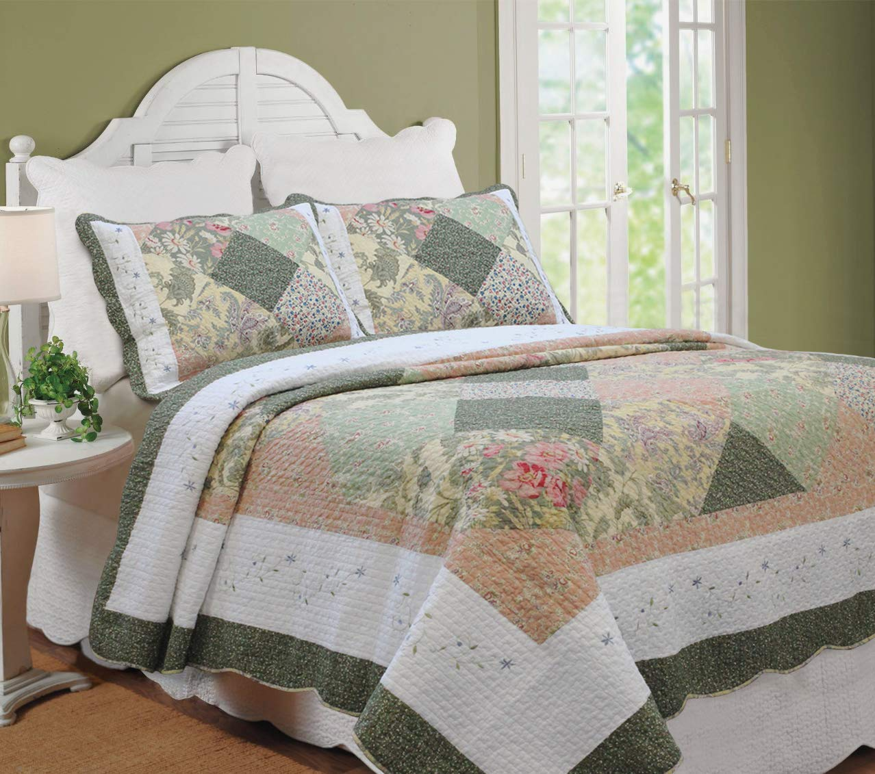 Cozy Line Home Fashions Floral Real Patchwork Olive Green Pink Scalloped Edge Country 100% Cotton Quilt Bedding Set, Reversible Coverlet Bedspread for Women