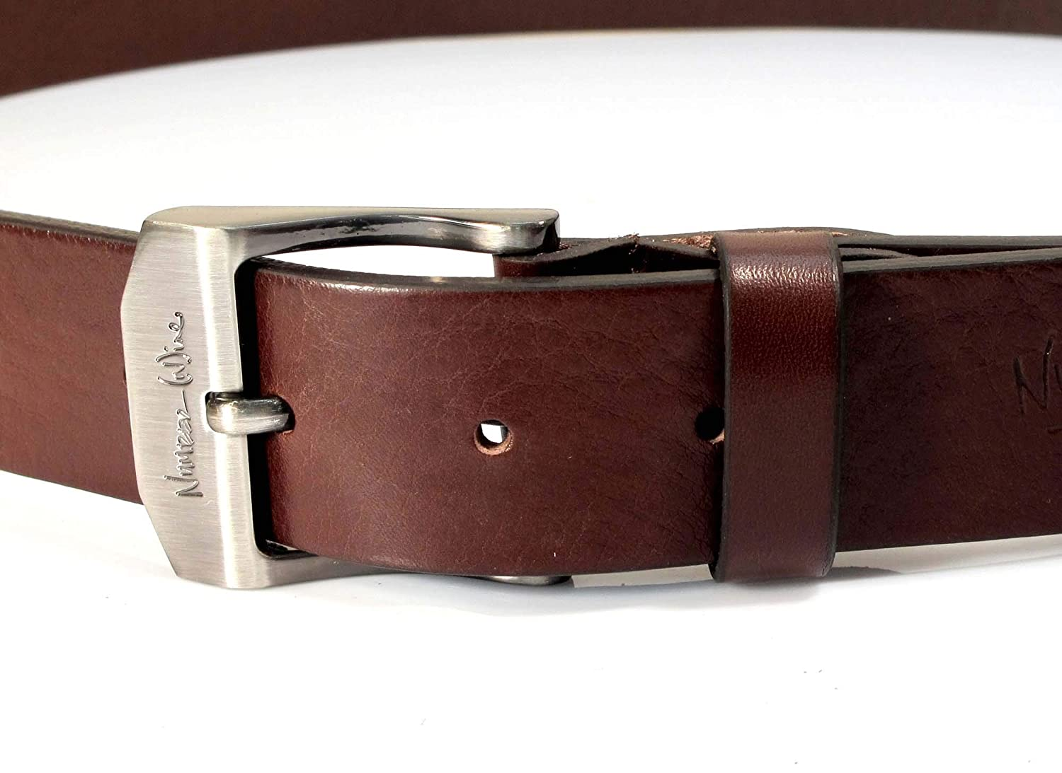 Mens Real Genuine Leather Dark Brown Belt 1.5 Wide S-XL Thick Casual Jeans UM6