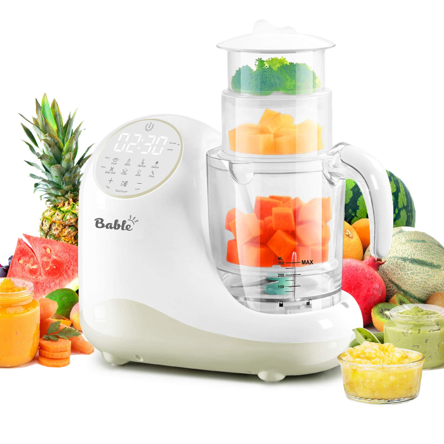 Baby Food Maker for Infants and Toddlers, Bable All-in-1 Food Processor Mills Machine with Steam, Blend, Chop, Sterilize, Warm Milk, Defrost, Grinder to Make Puree and Juice, Touch Control Panel, Auto by bable