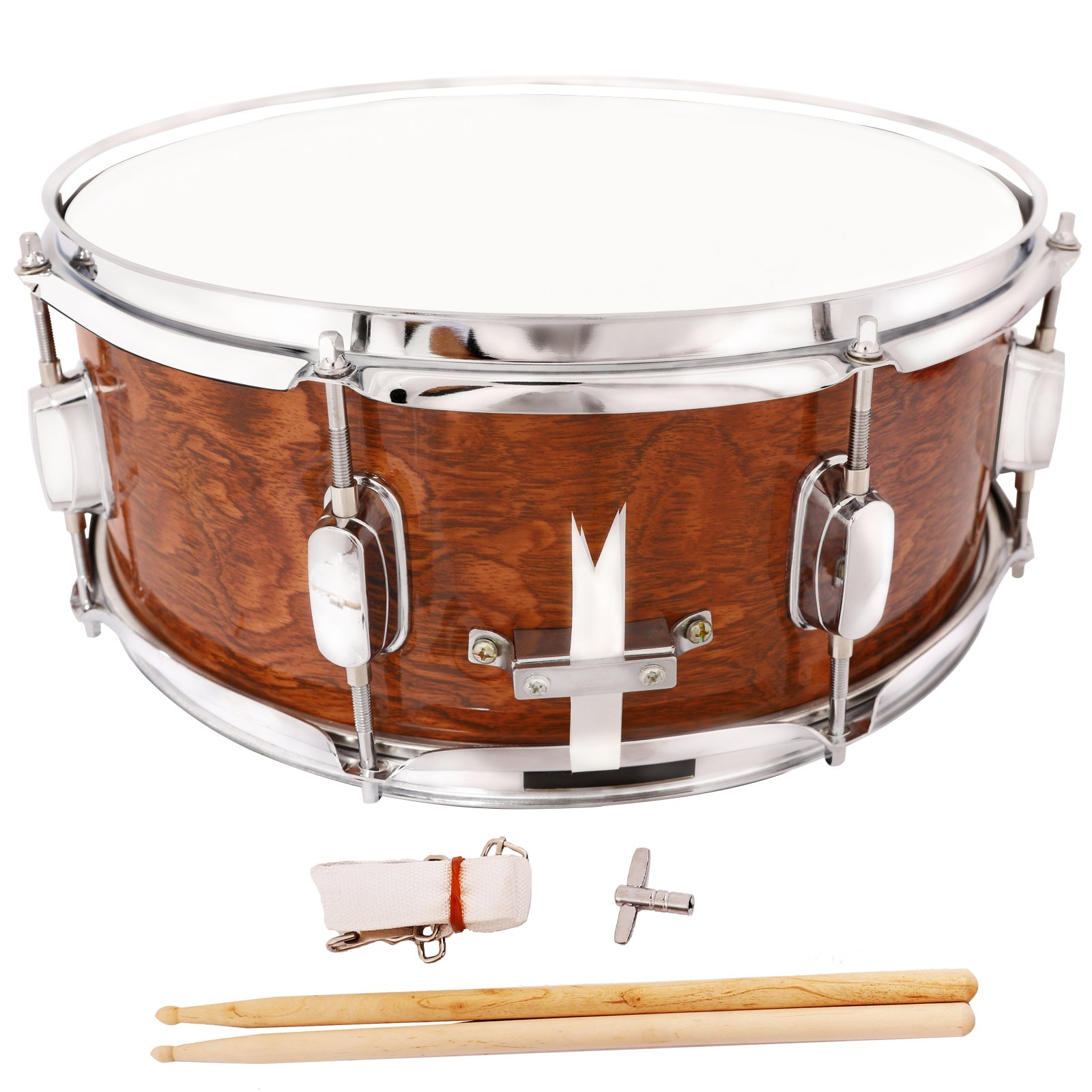 LAGRIMA Student Beginner Snare Drum W/Drum Key, Drumsticks and Strap|14x5.5 inch|Real Wood Shell|8 Metal Tuning Lugs