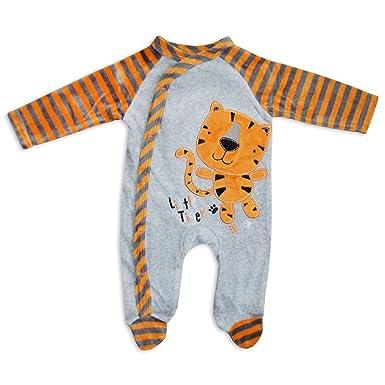 9484dcd1b78 Baby Boys Girls Unisex Longsleeve Soft Velour Sleepsuit Romper Grey Orange  Little Tiger Design (3-6 Months)  Amazon.co.uk  Clothing