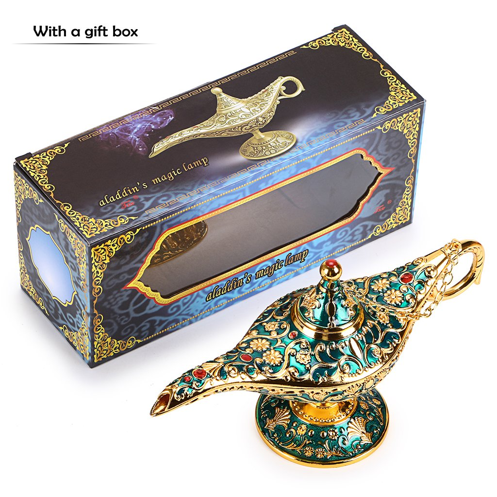 Hipiwe Vintage Magical Legend Aladdin's Genie Lamp for Home/Wedding Table Decoration,Collectable Rare Classic Arabian Costume Props Lamp Pot &Gift for Party/Halloween/Birthday(Green) by Hipiwe (Image #6)