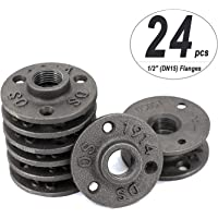 "CenterZ 24 pack 1/2"" Floor Flange, DN15 Hole Threaded Flanges Malleable Cast Iron Pipe Fittings for Industrial Vintage…"