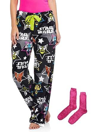 d080a0d2de Disney Star Wars Women s Minky Sleep Pants Gift Set with Minky Socks - Black  - Medium