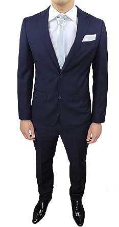 Abito completo uomo sartoriale calibrato blu taglie forti comode conformato  casual elegante cerimonia  Amazon.it  Abbigliamento 9b687242e22