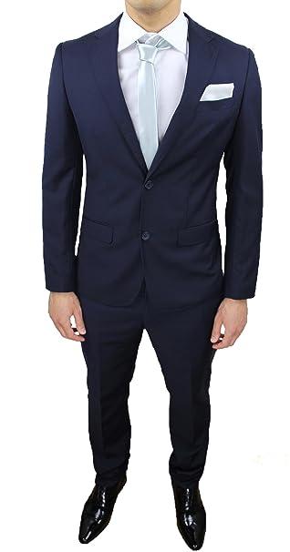 e35c91b56a4e Abito completo uomo sartoriale calibrato blu taglie forti comode conformato  casual elegante cerimonia  Amazon.it  Abbigliamento