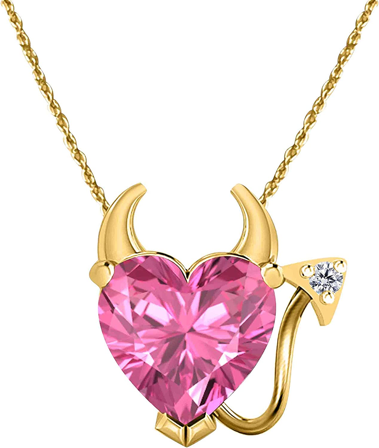Gothic Vampire Bat Necklace .925 Sterling Silver 14k Yellow Gold Plated CZ Pink Sapphire Pendant Necklace Fashion Jewelry for Women Best Gift for Wife Girlfriend at Christmas Birthday
