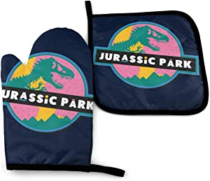 SDFDFGD Jurassic Park 90s -Oven Mitts and Pot Holders Heat Resistant Kitchen Bake Gloves Cooking Gloves