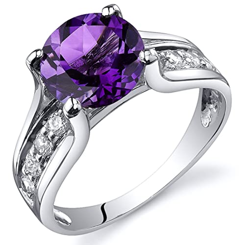 Amethyst Solitaire Style Ring Sterling Silver Rhodium Nickel Finish 1.75 Carats Sizes 5 to 9