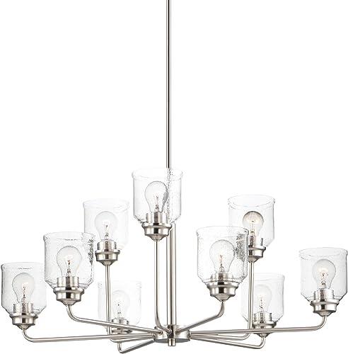Maxim 12277CDSN Acadia Seedy Glass Chandelier, 9-Light 540 Total Watts, 15 H x 35 W, Satin Nickel