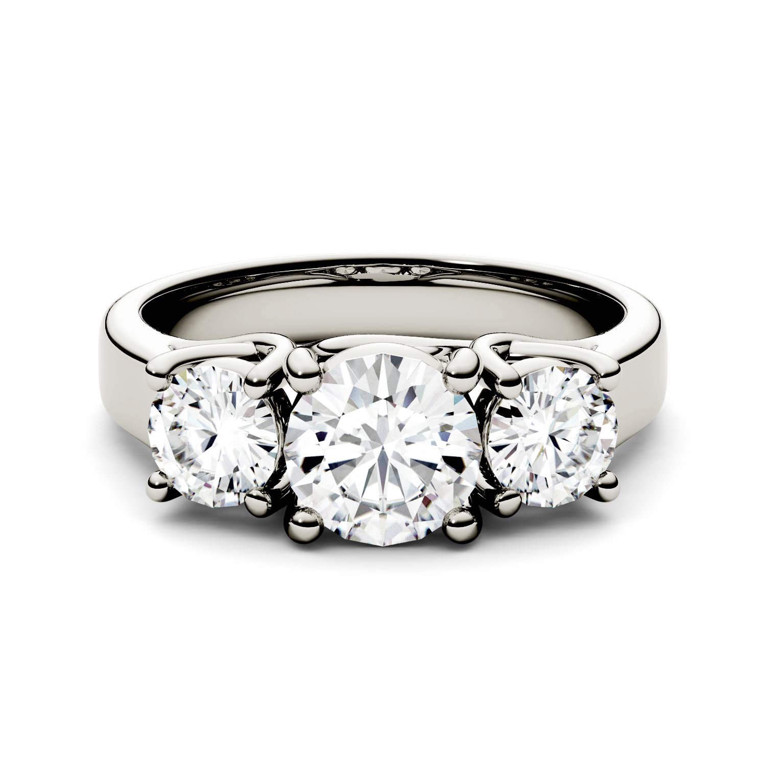 Forever One Round 6.5mm Three Stone Moissanite Ring-size 8, 2.00cttw DEW (D-E-F) By Charles & Colvard
