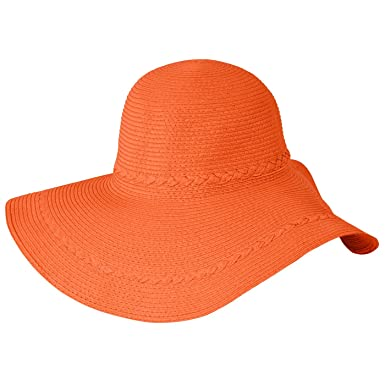 93bd6bb38f9db Image Unavailable. Image not available for. Color  Luxury Lane Women s  Orange Wide Brim Straw Floppy Sun Hat ...