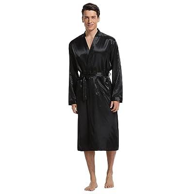 Aibrou Men's Satin Robe Long Bathrobe Lightweight Sleepwear at Men's Clothing store