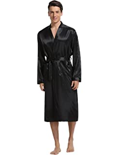 4e8be5b7d2 YIMANIE Mens Satin Robe Long Silk Lightweight Bathrobe Kimono ...