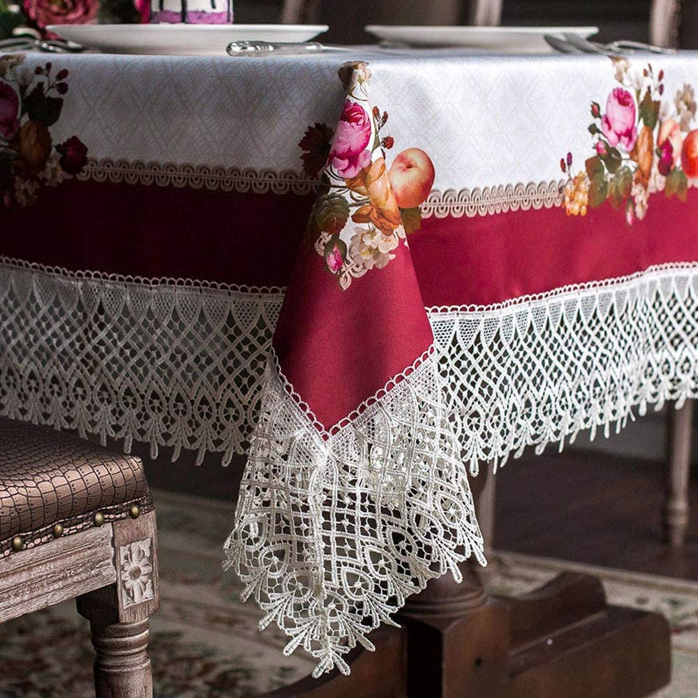 ARTABLE Lace Spring Table Cloth Rectangle Fall Antique Flower Decor Macrame Tablecloth for Outdoor Farmhouse Rustic Kitchen Party Birthday Picnic (Burgundy, 52 x 70 Inch)