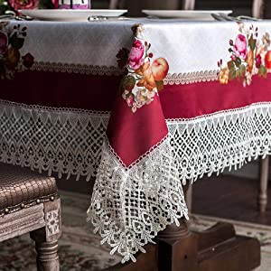 ARTABLE Lace Table Cloths Rectangle Fall Antique Flower Decor Macrame Tablecloth for Outdoor Farmhouse Rustic Kitchen Party Birthday Picnic (Burgundy, 60 x 104 Inch)