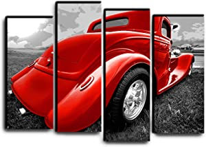 Big 4 Piece Hot Rod Wall Art Decor Picture Painting Poster Print on Canvas Panels Pieces - Vintage Car Theme Wall Decoration Set - Classic Car Wall Picture for Showroom Office 32 by 44 in