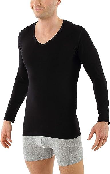 ALBERT KREUZ Camiseta Interior de Manga Larga Cuello en V de algodón orgánico elástico Negro: Amazon.es: Ropa y accesorios