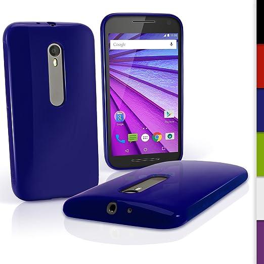 31 opinioni per igadgitz Solido Blu Lucido Protettiva Custodia Gel TPU per Motorola Moto G 3°
