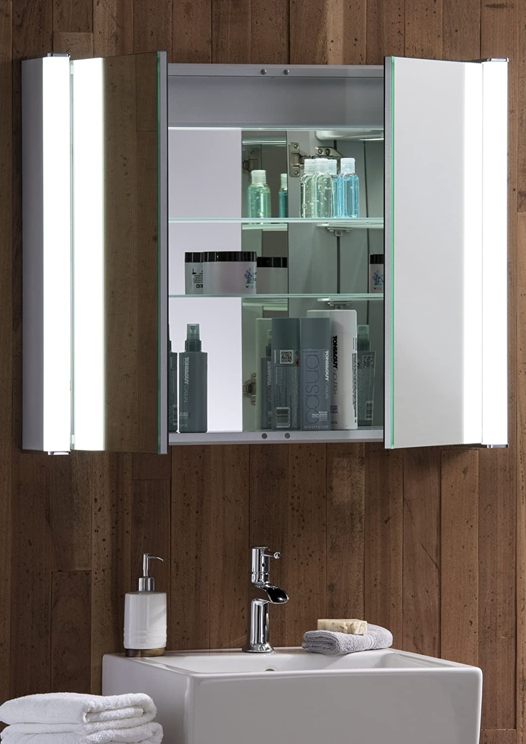 LED Illuminated Bathroom Mirror Cabinet With Demister Heat Pad Shaver And Sensor Switch Lights 65cmH X 80cmW 16cmD C13 Amazoncouk Kitchen