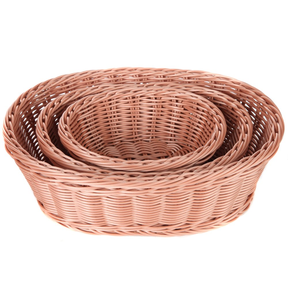 Home-X 3 Piece Wicker Look Nestable Oval Basket Set, Microwavable, and Dishwasher Safe (Oval Shape)