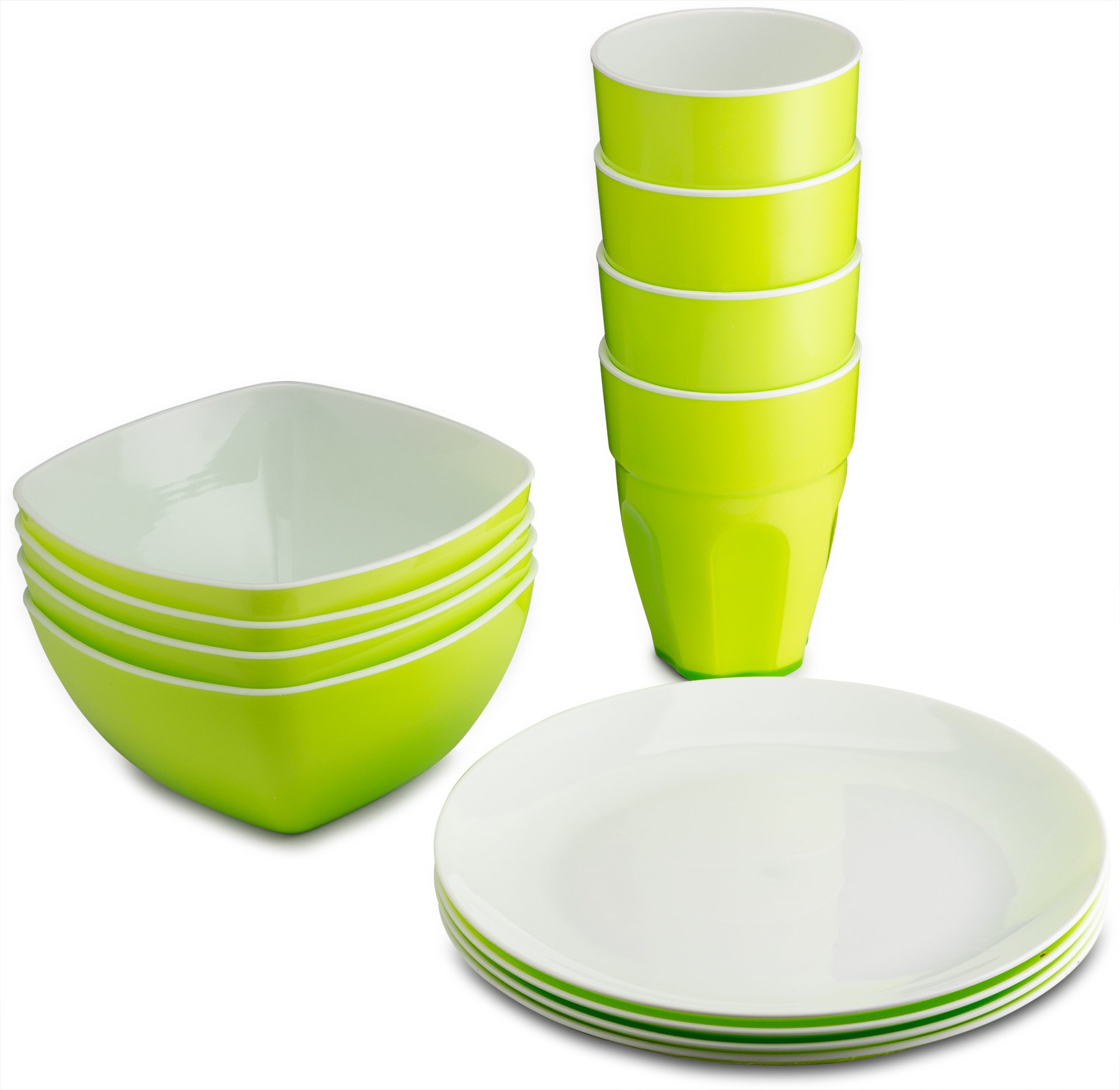 PLASTI HOME Reusable Plastic Dinnerware Set (12pcs) – Fancy Hard Plastic Plates, Bows & Cups In Green Festive Color – Microwaveable & Dishwasher Safe Flatware & Tumblers For Daily Use
