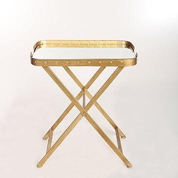 Gold Klapptisch Mit Spiegel Oberseite Couchtisch Ins Wohnzimmer Im Stil  Shabby Chic 65 X 57 X