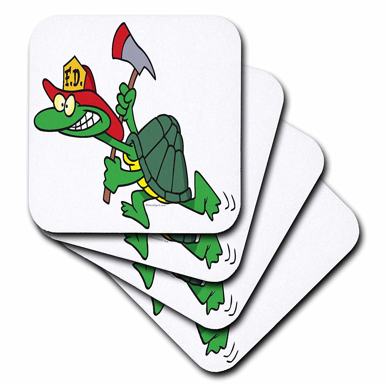 Set of 8 3dRose cst/_104057/_2 Funny Fireman Firefighter Turtle Cartoon-Soft Coasters