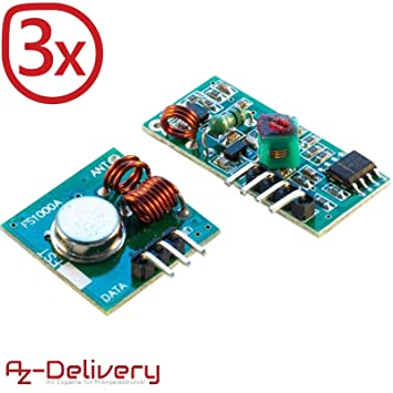 AZDelivery ⭐⭐⭐⭐⭐ 3 x Wireless Transmitter and Receiver 433 MHz Module Set  for Arduino and Raspberry Pi