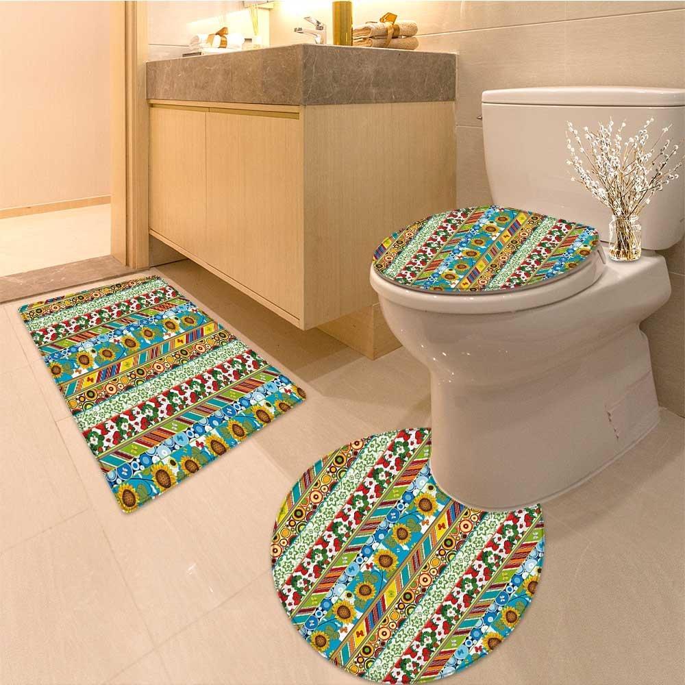 3 Piece Anti-slip mat setStriped Colorfu Summer Spring Retro Patchwork Style Pattern Suns Butterflies Strawber Non Slip Bathroom Rugs