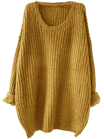 Milumia Women's Drop Shoulder Textured Roll-Up Loose Knit Sweater ...