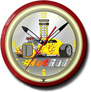 "product image for Hot Rod Drag Racing Neon Wall Clock 20"" Made In USA, 110V Electric, Aluminum Spun Case, Powder Coated Finish, Glass Face, Brass Movement, Pull Chain, 1 Year Warranty"