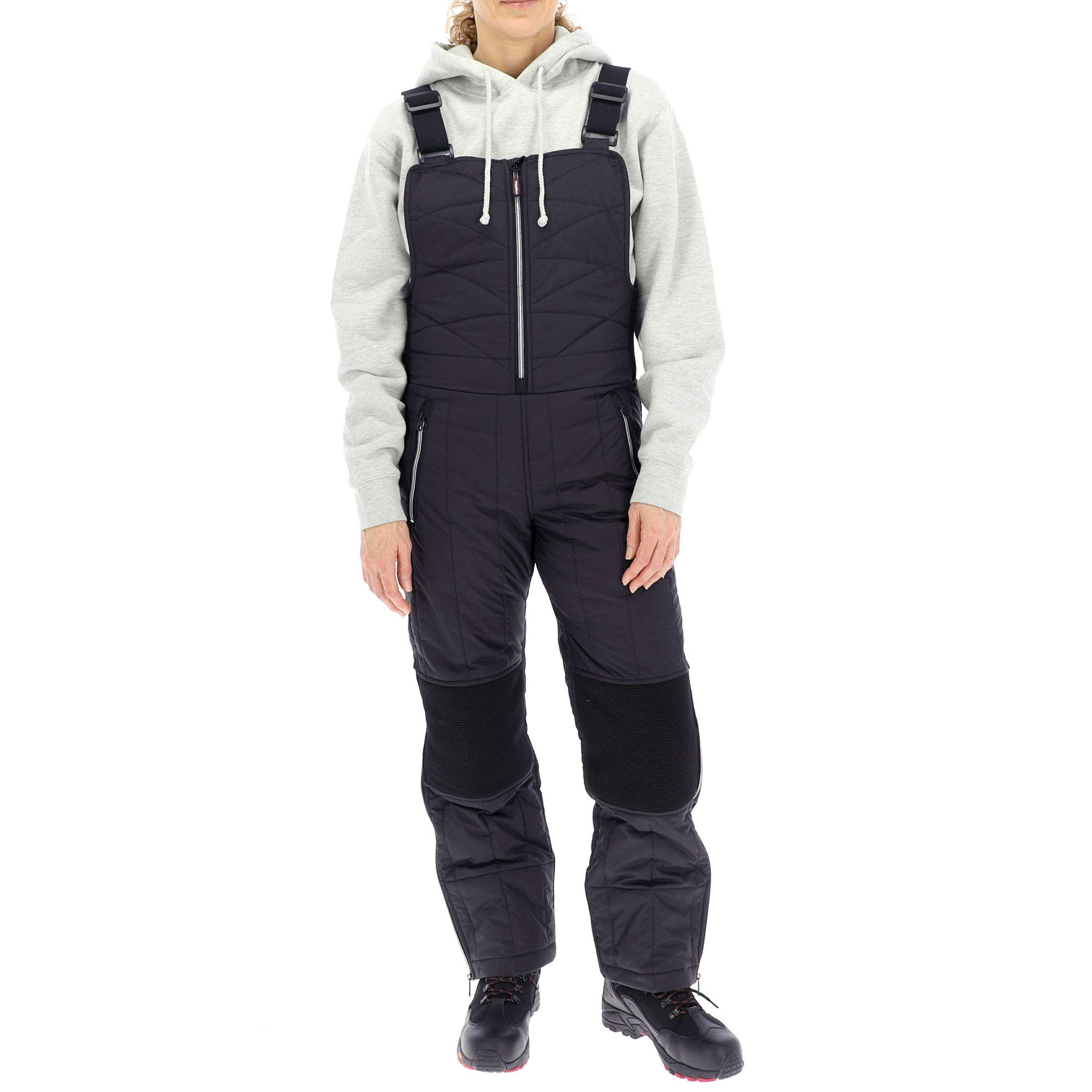RefrigiWear Women's Diamond Quilted Insulated Bib Overalls with Performance-Flex