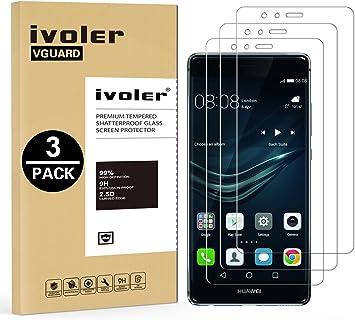 ivoler [3 Unidades] Protector de Pantalla para Huawei P9 Lite, Cristal Vidrio Templado Premium: Amazon.es: Electrónica