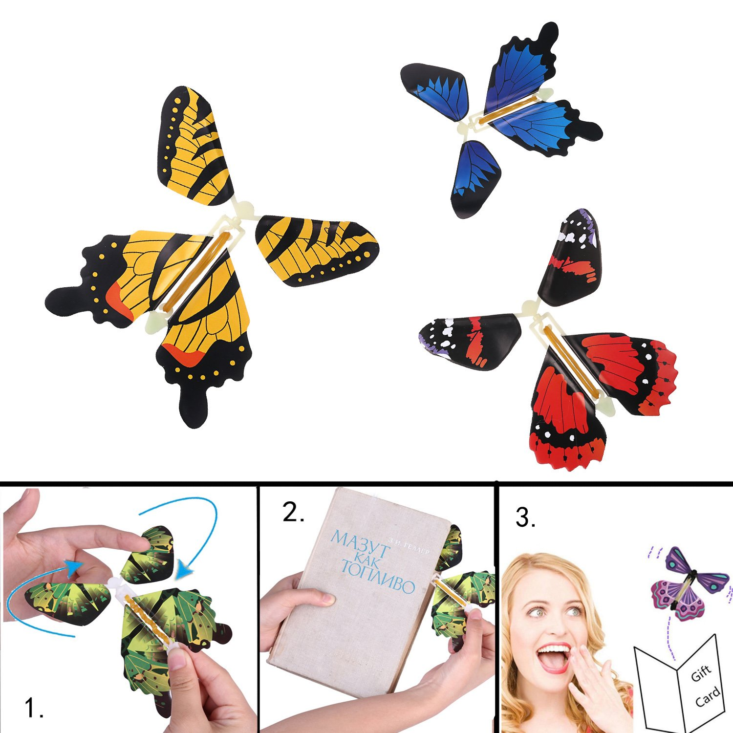 beemean Magic Flying Butterfly Gift Cards - Wind Up Butterfly in The Book Fairy Toy Great Surprise Wedding (50PCS) by beemean (Image #3)