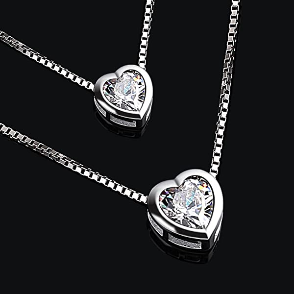 B.Catcher 925 Sterling Silver Cubic Zirconia Double Layer Heart Bead Chains Necklace tWZLQy