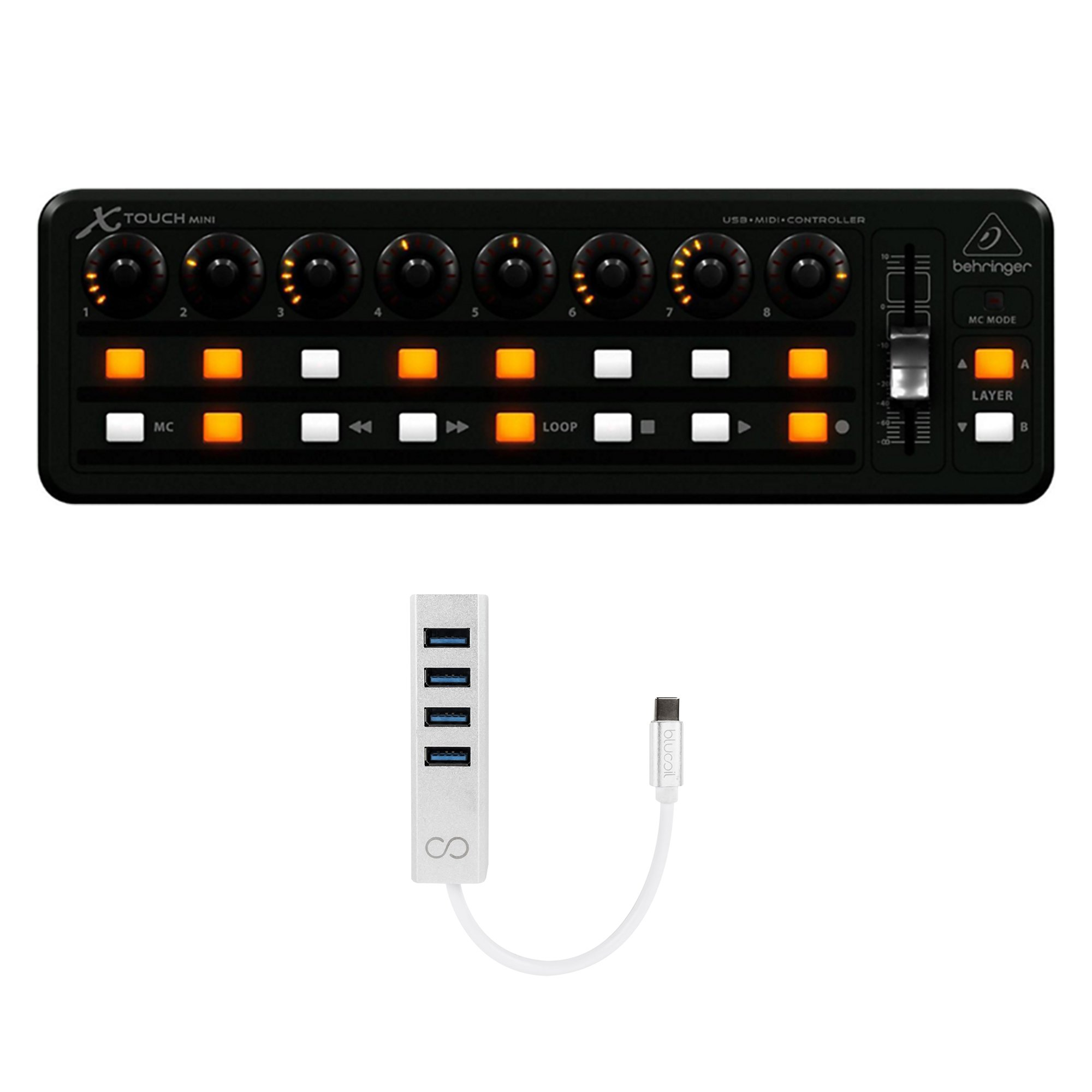 Behringer X-TOUCH MINI USB Mixing Controller with 8 Rotary Control Knobs BUNDLED WITH Blucoil USB Type-C Mini Hub with 4 USB Ports