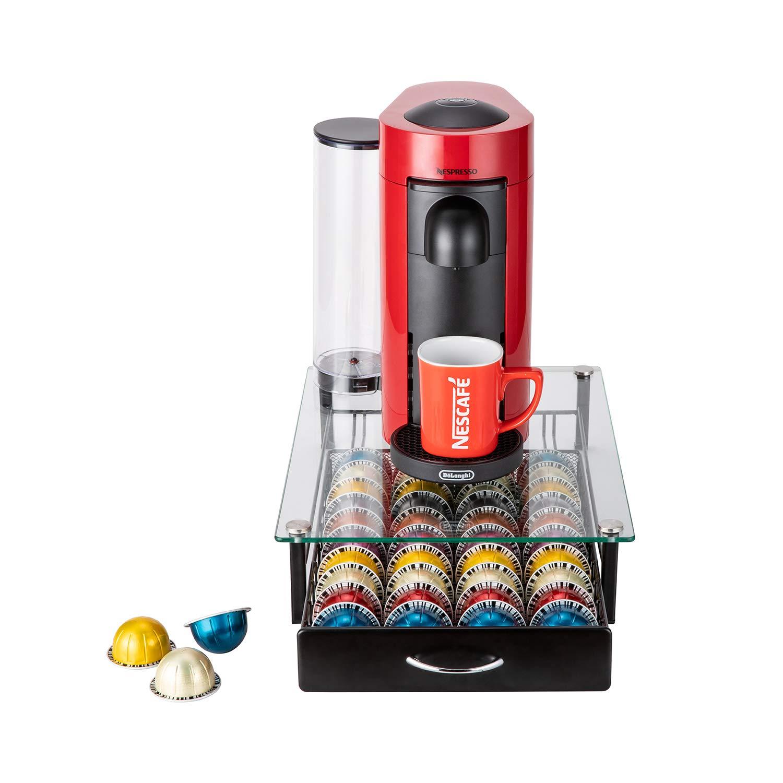 40 Pods Glass Drawer Coffee Pod Holder Storage Rack Capsules Capacity Drawer for Nespresso Vertuoline 40 Pods Glass Drawer