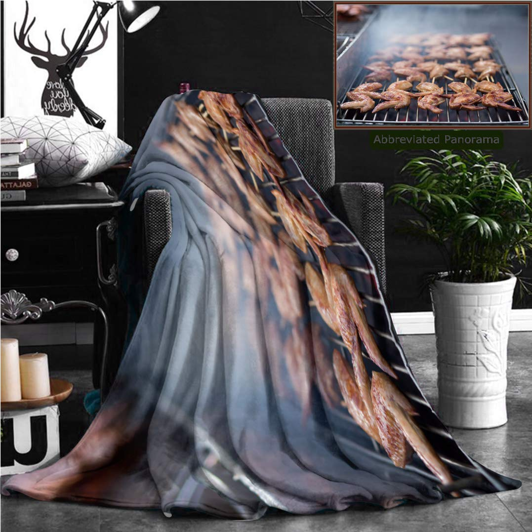 "Nalagoo Unique Custom Flannel Blankets Street Food Thai Barbecue Grilled Chicken Super Soft Blanketry for Bed Couch, Twin Size 70"" x 60"""