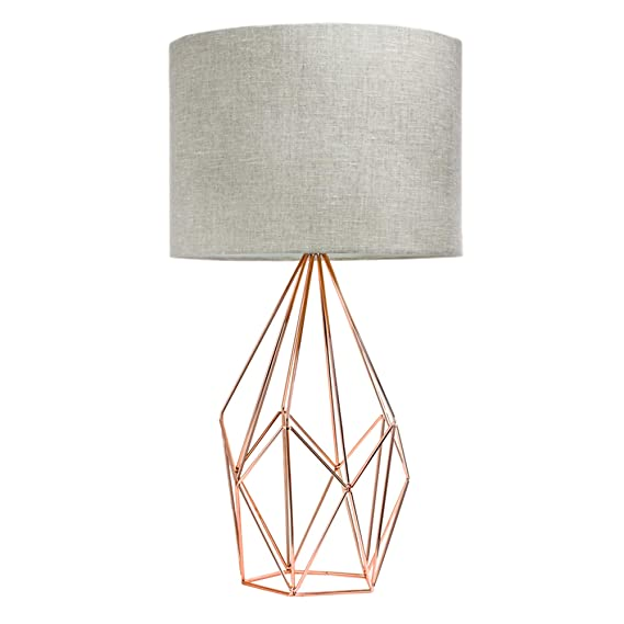 "American Art Décor Rose Gold Geometric Metal Cage Table Lamp With Drum Shade (23"") by American Art Décor"