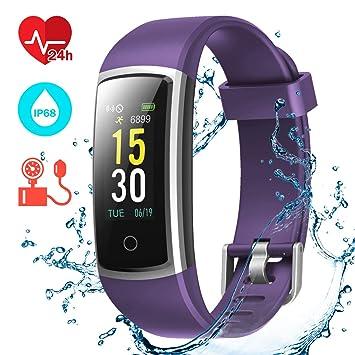 CHEREEKI Montre Connectée, Tracker dActivité Tension Artérielle Etanche IP68 Smartwatch Sport Écran Coloré