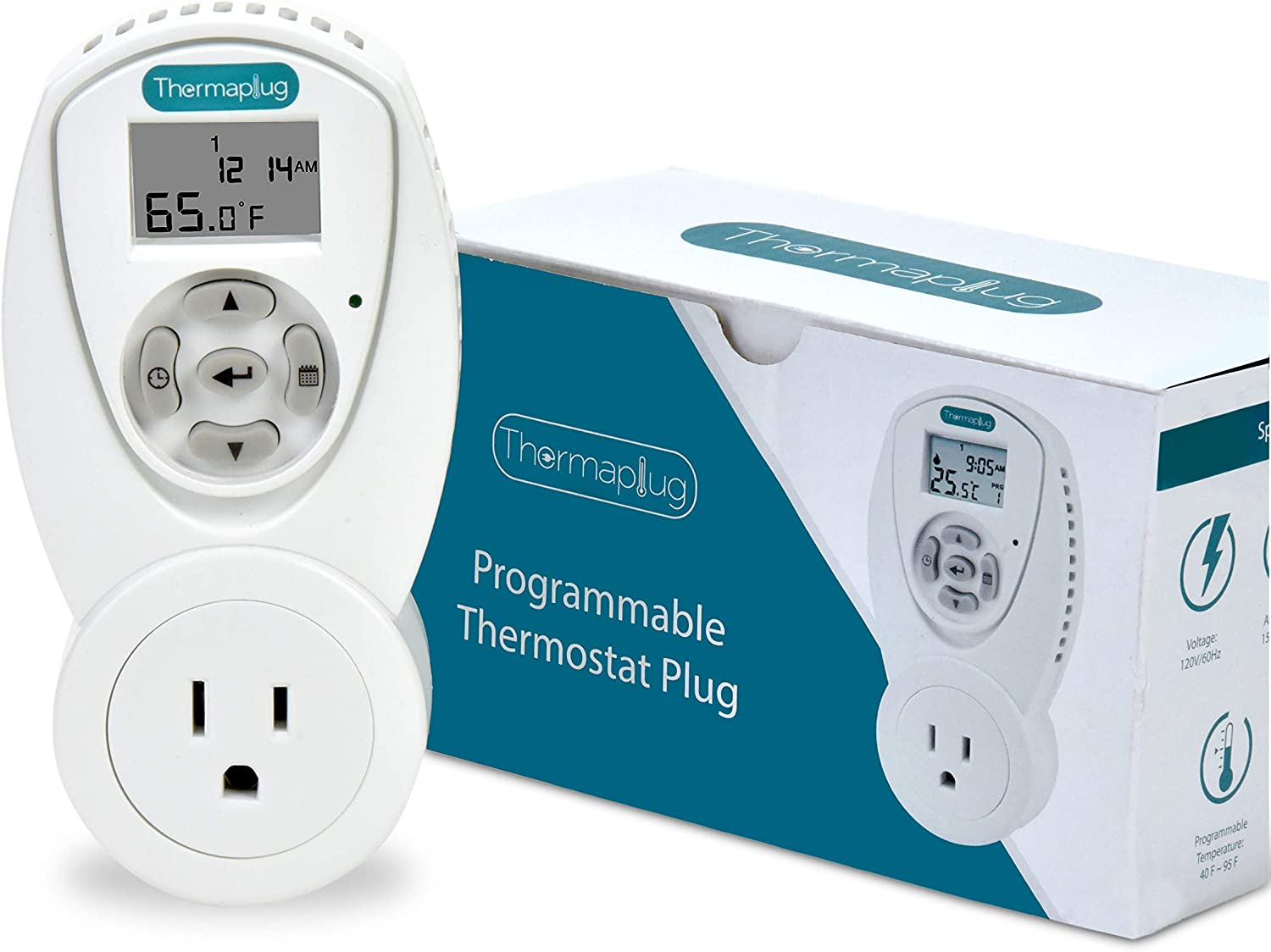 Programmable Thermostat Outlet Plug for Space Heaters and A/Cs, 120v/ 110v 15 amps, Heavy Duty