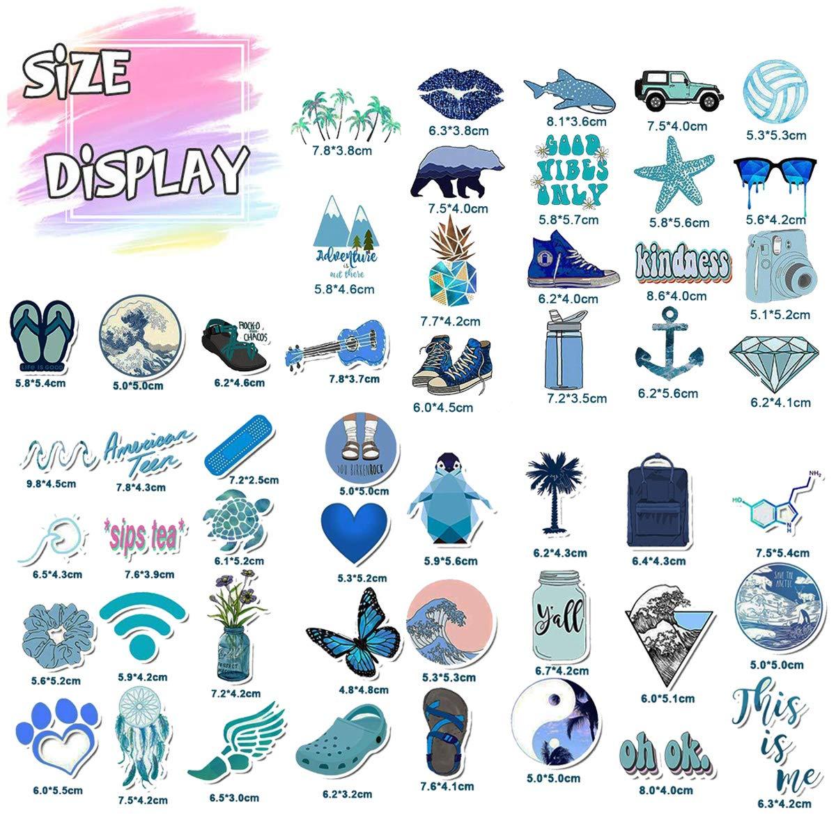 Trendy VSCO Vinyl Stickers for Laptop Water Bottles (50-Pack) Cute Aesthetic Waterproof Stickers for Hydro Flask Phone Skateboard Guitar, Suitable for Girls, Kids, Teens, Adults (Blue Series)