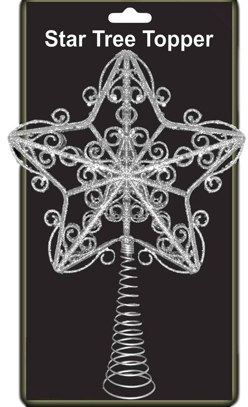 30cm Silver Wired Glitter Star Tree Top Star Christmas Decoration