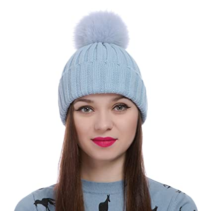 Womens Girls Winter Knitted Fur Hat Real Large Detachable Raccoon Fox Fur  Pom Pom Beanie Winter Hats (Sky Blue)  Amazon.ca  Sports   Outdoors 1c8556625b68