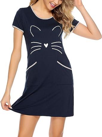 Sykooria Camisón de algodón para Mujer Camisa de Manga Corta con ...