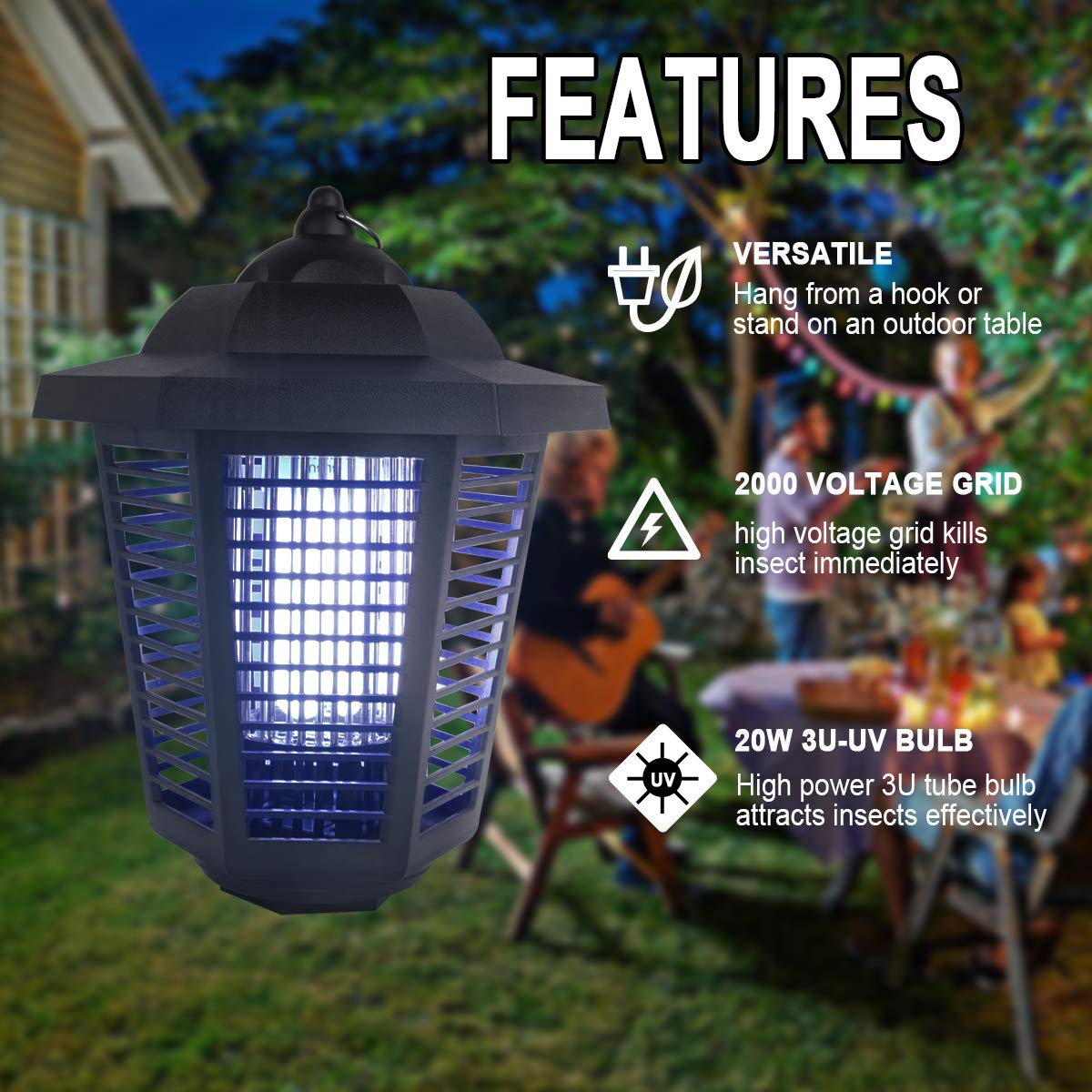 Pest Control Bug Zappers Great for Backyard Patio Mosquito Killer ...
